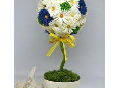 topiario con fiori di carta quilling
