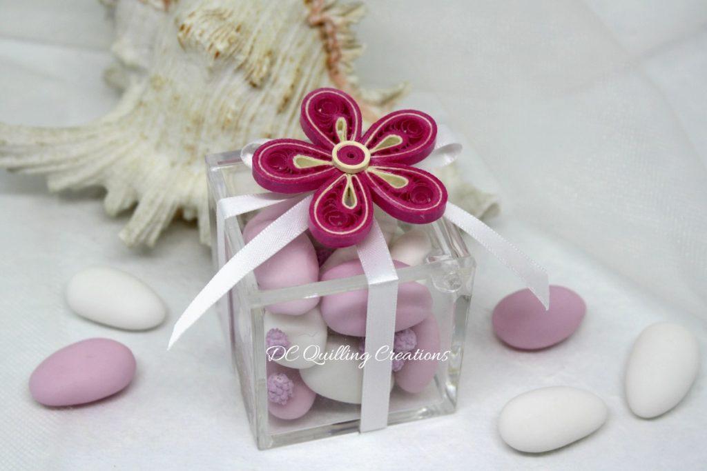 scatolina comunione plexi fiore quilling