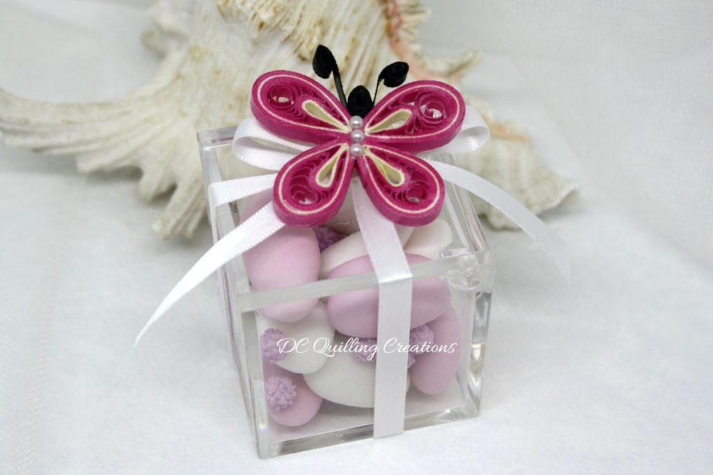 scatolina comunione plexi farfalla quilling