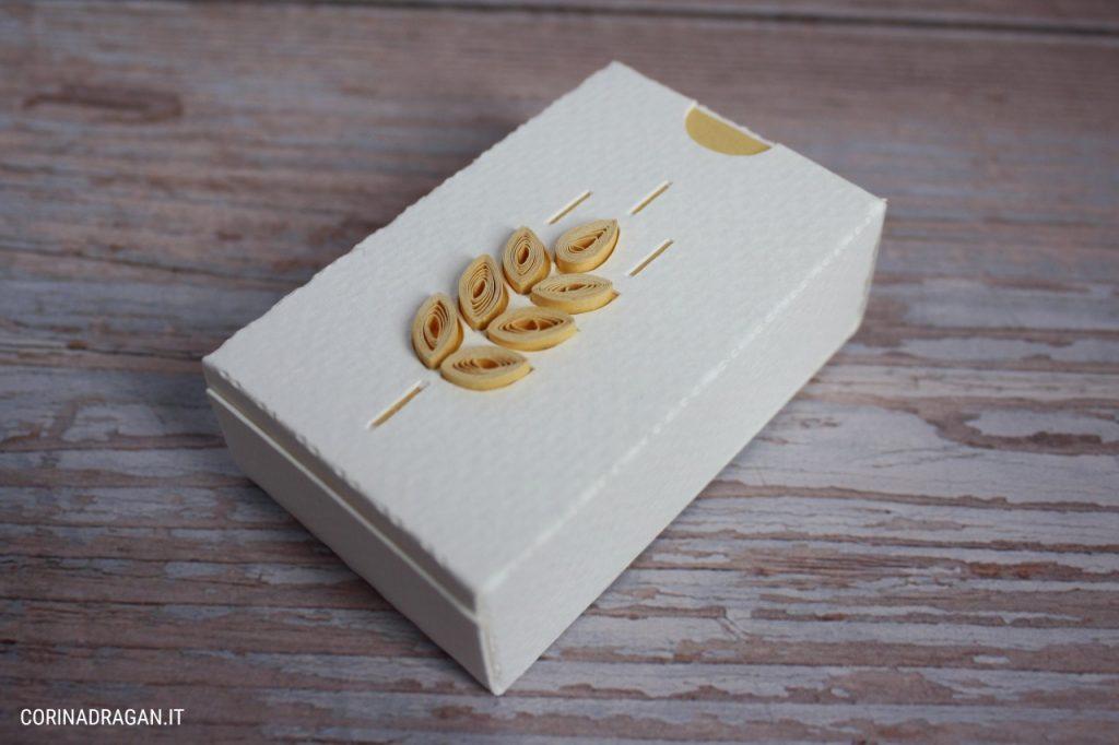 scatolina portaconfetti comunione spiga di grano quilling