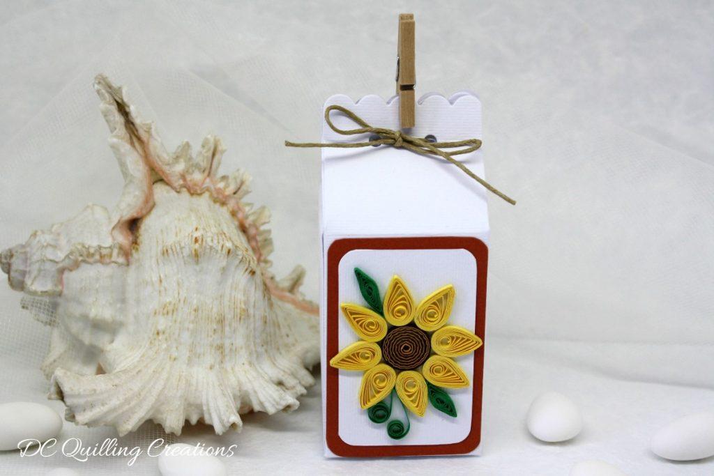 scatolina portaconfetti con girasole quilling