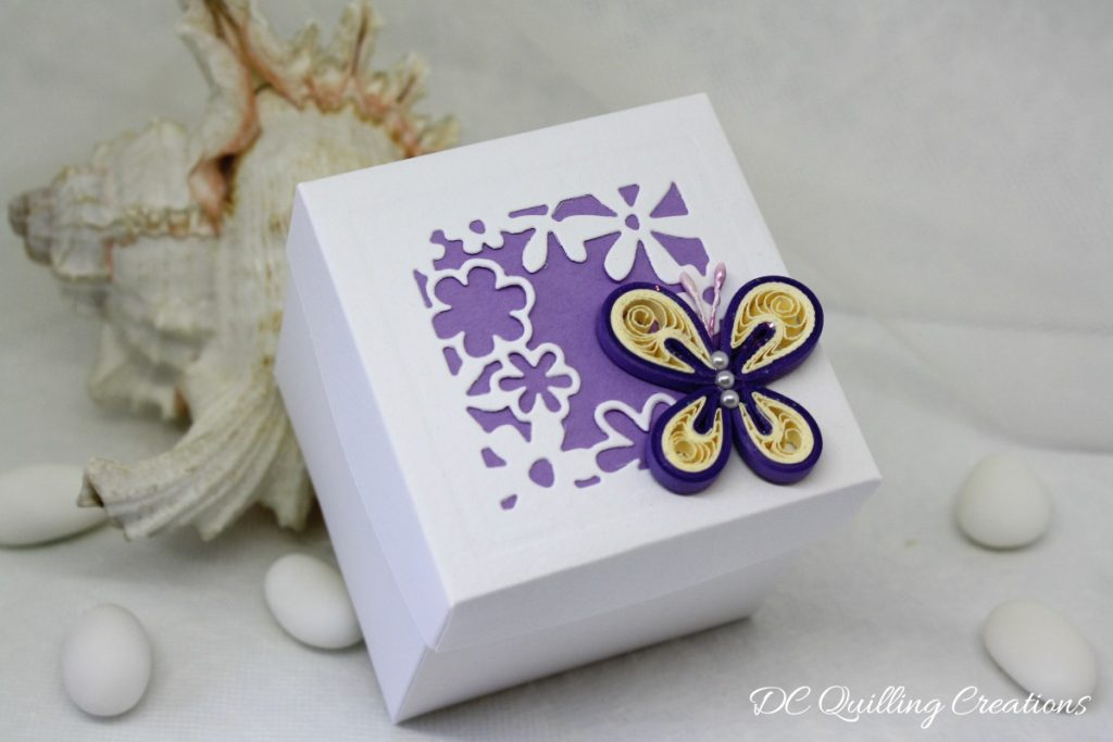 scatolina cubo farfalla calamita quilling