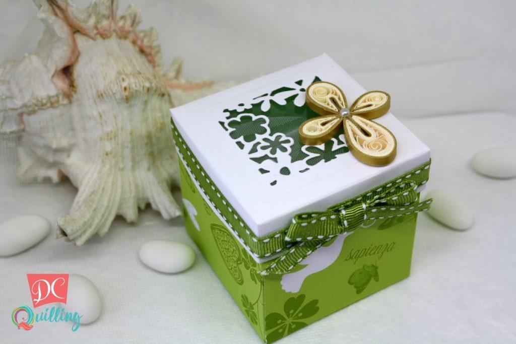 scatolina cubo cresima con croce in quilling