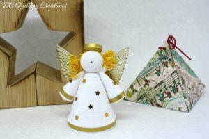 addobbo natalizio angelo di carta quilling