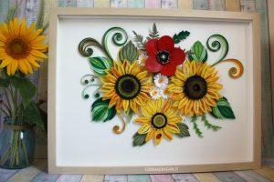 idea regalo compleanno quadro girasoli quilling