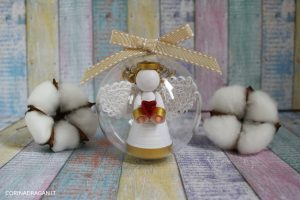 pallina di natale sfera con angelo custode in quilling