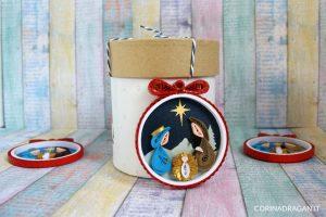 pallina natalizia natività quilling