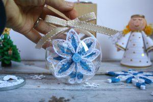 pallina natalizia 3D con fiocco di neve