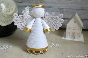 angelo custode puntale albero in quilling