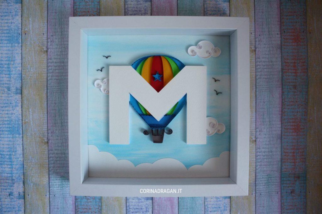 quadretto regalo battesimo bimbo con mongolfiera quilling