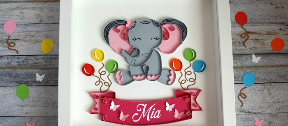 quadretto nascita battesimo personalizzato elefantino