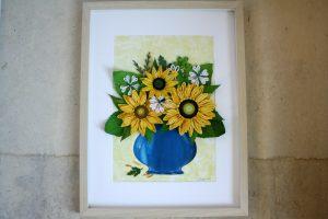 quadro floreale con girasoli in quilling