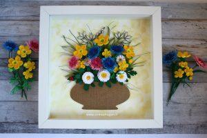 quadro fiori di campo 3d quilling