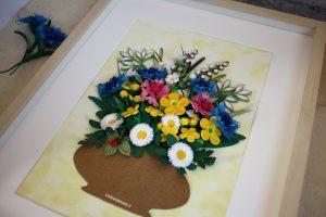 quadro fiori 3d quilling art