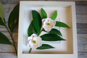 quadro floreale magnolia 3d carta quilling