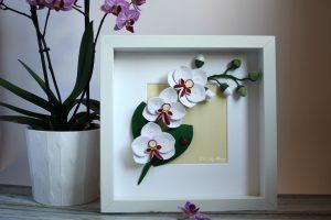 quadro floreale orchidea 3d fatta a mano