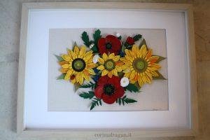 quadro artistico girasoli e papaveri quilling