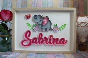 quadro primo compleanno bimba elefantino