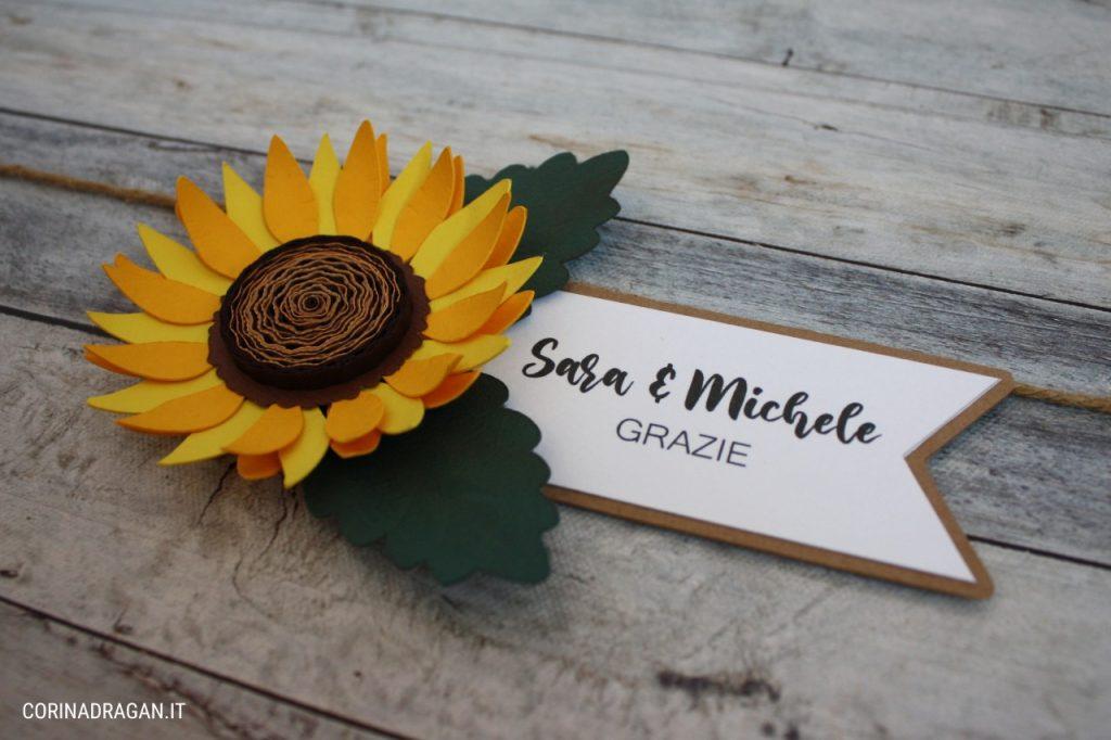 segnaposto nomi tavoli matrimonio country chic con girasoli