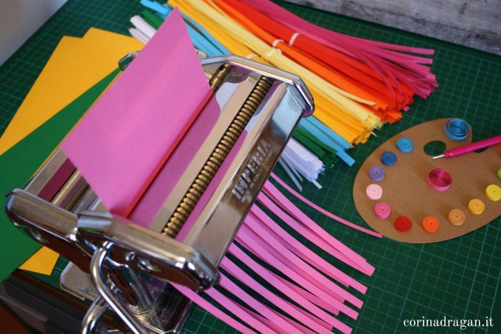 strisce di carta quilling fatte in casa