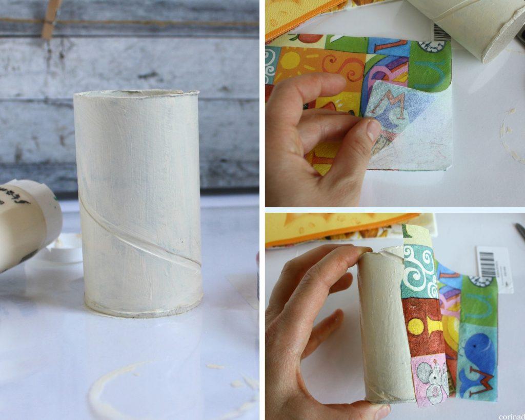 come decorare un portapenne con tovaglioli decorativi