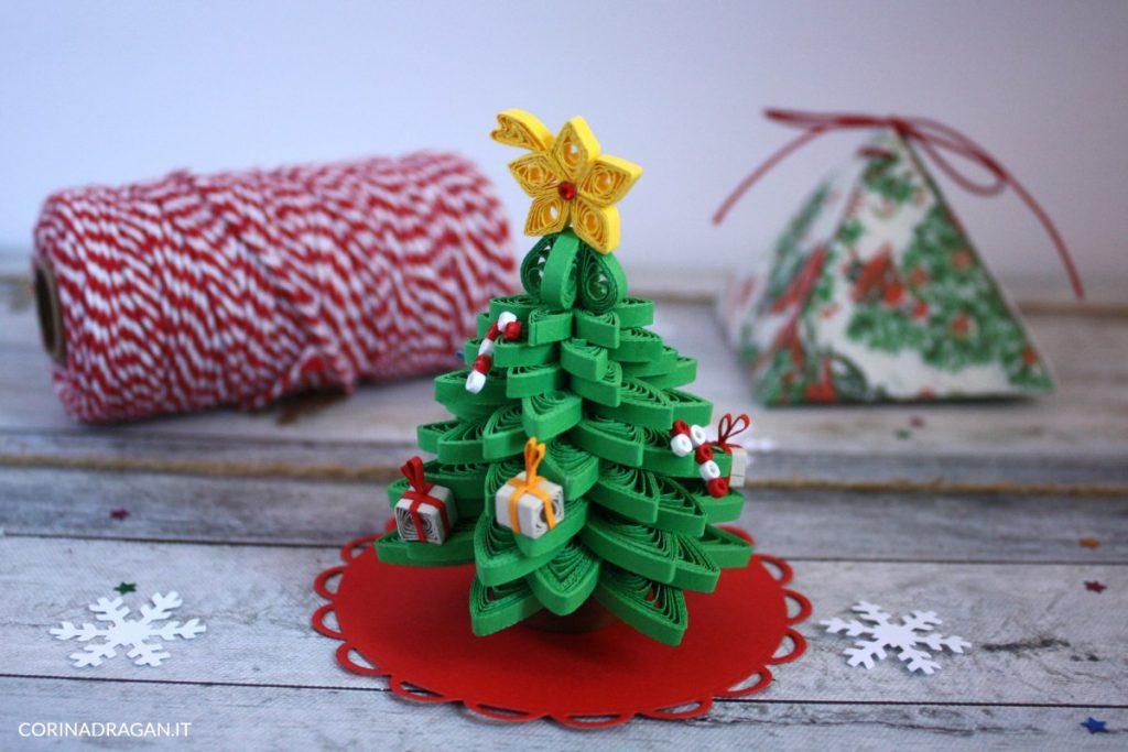 segnaposto natalizio alberello quilling